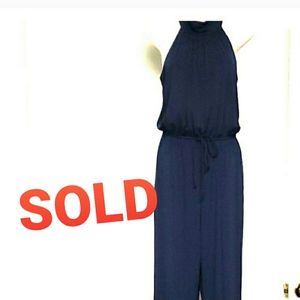 Womens Navy Sleeveless Cocktail Party Jumpsuit, 8